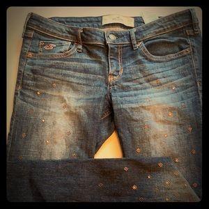 Hollister Dark Jeans 👖 with rhinestones on legs🔥